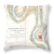 1865 Uscs Map Of The Mississippi River From Cairo Illinois To St Marys Missouri  Throw Pillow