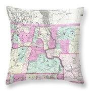 1866 Colton Map Of Oregon Washington Idaho And Montana W Wyoming Throw Pillow