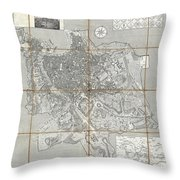 1866 Fornari Pocket Map Or Case Map Of Rome Italy Throw Pillow
