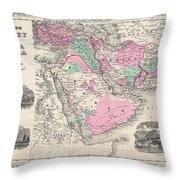 1866 Johnson Map Of Arabia Persia Turkey And Afghanistan Iraq Throw Pillow