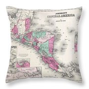 1866 Johnson Map Of Central America Throw Pillow