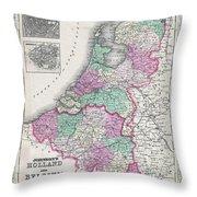 1866 Johnson Map Of Holland And Belgium Throw Pillow
