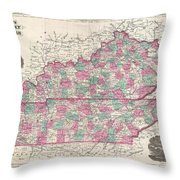 1866 Johnson Map Of Kentucky And Tennessee  Throw Pillow