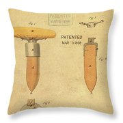 1868 Base For Baseball Players Patent In Sepia Throw Pillow