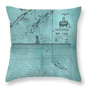 1868 Fishing Tackle Patent Blue Throw Pillow