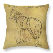 1868 Horse Harness Patent Throw Pillow