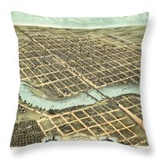 1869 Map Of Kankakee Throw Pillow