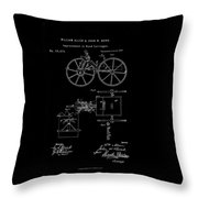 1871 Hand Carriage Patent Drawing Throw Pillow