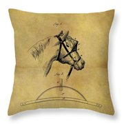 1874 Horse Blinder Patent Throw Pillow