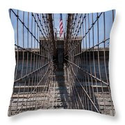 1875 Brooklyn Bridge Tower Color  Throw Pillow