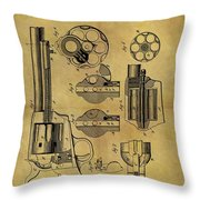 1875 Revolver Patent Throw Pillow