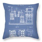 1877 Bottling Machine Patent - Light Blue Throw Pillow
