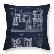 1877 Bottling Machine Patent - Navy Blue Throw Pillow