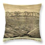 1877 Santa Barbara California Map Throw Pillow