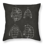 1878 Baseball Catchers Mask Patent - Gray Throw Pillow by Nikki Marie Smith