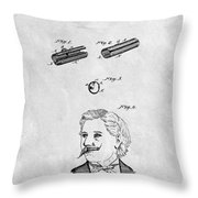 1879 Mustache Guard Patent Throw Pillow
