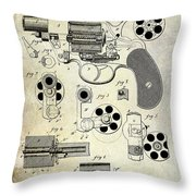 1881 Revolver Patent  Throw Pillow