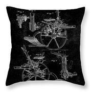 1882 Sulky Plow Patent Throw Pillow