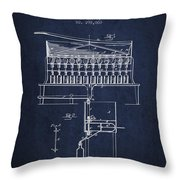 1884 Bottling Machine Patent - Navy Blue Throw Pillow