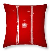 1885 Baseball Bat Patent Artwork - Red Throw Pillow