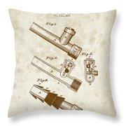 1885 Fire Escape Patent - Vintage Brown Throw Pillow