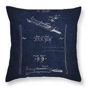 1885 Tuning Fork Patent - Navy Blue Throw Pillow