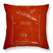 1885 Tuning Fork Patent - Red Throw Pillow