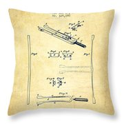 1885 Tuning Fork Patent - Vintage Throw Pillow
