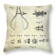 1886 Caliper And Dividers Patent Throw Pillow