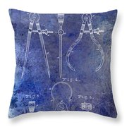 1886 Calipers Patent Blue Throw Pillow