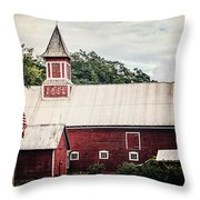 1886 Red Barn Throw Pillow by Lisa Russo