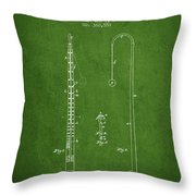 1887 Metronome Patent - Green Throw Pillow