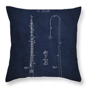 1887 Metronome Patent - Navy Blue Throw Pillow