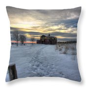 1888 Barn In Winter 01 Throw Pillow