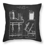 1888 Beer Bottling Machine Patent - Charcoal Throw Pillow