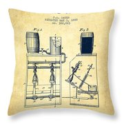 1888 Beer Bottling Machine Patent - Vintage Throw Pillow