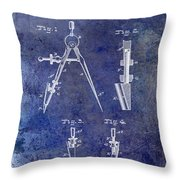 1888 Draftsmans Compass Patent Blue Throw Pillow