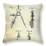 1888 Draftsmans Compass Patent  Throw Pillow