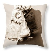 1888 Infant And Mother Throw Pillow by Tom Zukauskas