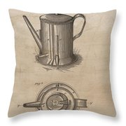 1889 Coffee Pot Patent Illustration Throw Pillow