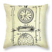 1889 Stop Watch Patent Art S. 1 Throw Pillow