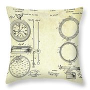 1889 Stop Watch Patent Art Sheets 1-2 Throw Pillow