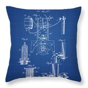 1890 Bottling Machine Patent - Blueprint Throw Pillow