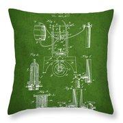 1890 Bottling Machine Patent - Green Throw Pillow