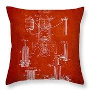 1890 Bottling Machine Patent - Red Throw Pillow