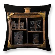 1890 Ink Stamps For Letters Throw Pillow
