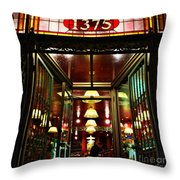 1890s New York - Old - Fashioned Wine Shop Throw Pillow