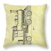 1891 Locomotive Patent Throw Pillow