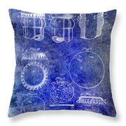 1892 Bottle Cap Patent Blue Throw Pillow