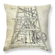 1893 Oil Well Rig Patent Throw Pillow